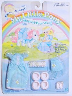 Hasbro MY LITTLE PONY FLOWER DARLINGS MEGAN & PONY WEAR MLP Large Outfit MOC`85! #HasbroUSA