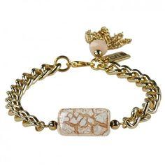 Ein elegantes Accessoire ist dieses Panzer-Armband mit der edlen Keramik. Das Schmuckstück ist handgefertigt von dem Berliner Label Ludovika van Inkpen.
