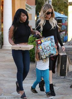 Favourite aunt? Khloe Kardashian spoiled her five-year-old nephew Mason with a new Lego set on Monday during an outing with the star's best friend Malika Haqq