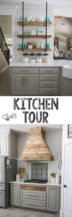 New Kitchen Farmhouse Wall Open Shelves Ideas Kitchen Ikea, Farmhouse Kitchen Cabinets, Kitchen Nook, Farmhouse Style Kitchen, Modern Farmhouse Kitchens, Home Decor Kitchen, New Kitchen, Home Kitchens, Kitchen Design