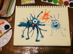 Art Lesson With Little Kids: Watercolor Splatter Monsters Watercolor Splatter, Kids Watercolor, Projects For Kids, Art Projects, Crafts For Kids, Kindergarten Art, Preschool Art, Kids Art Class, Art For Kids