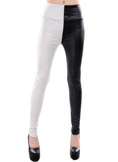 bb015adbda1f8 Sexy Leggings Leggins Jeans Hose Lack Leder - Optik Vintage Muster Punk S M  (Weiss &