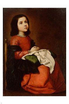 THE CHILDHOOD OF THE VIRGIN fine art poster FRANCISCO DE ZUBARAN 24X36 rare
