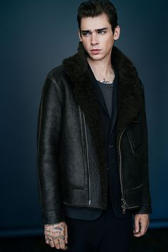 ALLSAINTS: Drayford Shearling Leather Jacket
