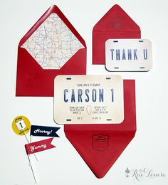 La Rue Louise: A Vintage Car/Travel Party: Carson's First Birthday Invitations + Accessories (Birthday Travel Ideas) Race Car Birthday, Race Car Party, Boy First Birthday, 30th Birthday, Birthday Ideas, Birthday Crafts, Car Themed Parties, Cars Birthday Parties, Cars Birthday Invitations