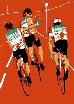 The 7 Eleven team. Inspiring Illustration by Eliza Southwood 7 Eleven, Cycling Art, Cycling Bikes, Road Cycling, Cycling Jerseys, Cycling Quotes, Road Bike, Bike Illustration, Digital Illustration