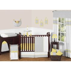 Sweet Jojo Designs 11pc Zigzag Crib Set - Yellow And Gray