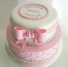 pink baby shower cakes | Baby Girl cake | cakes: tinte unite pois strisce