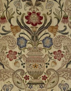 Detail of the floral design on the brocaded bed-hangings in the Gallery Bedroom at Powis Castle, Powys, Wales Textile Patterns, Textile Design, Embroidery Patterns, Floral Design, Jacobean Embroidery, Gold Embroidery, Ajrakh Prints, William Morris Patterns, Mughal Paintings