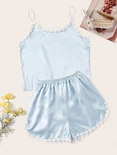 Shop Crochet Trim Satin Cami PJ Set at ROMWE, discover more fashion styles online. Cute Pajama Sets, Cute Pjs, Cute Pajamas, Pj Sets, Pyjama Sets, Cute Sleepwear, Sleepwear Women, Teen Fashion, Fashion Outfits