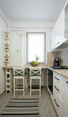 49 Small Kitchen Concepts That Will Make You Really feel Roomy Small Kitchen Layouts, Small Space Kitchen, Kitchen Room Design, Modern Kitchen Design, Home Decor Kitchen, Kitchen Furniture, Kitchen Interior, Home Kitchens, Kitchen Ideas