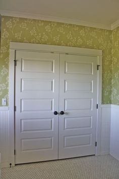 Farmhouse closet doors- like these so much better than the normal closet doors.