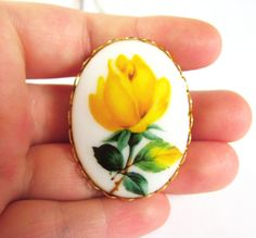 Vintage Yellow Rose Lucite Brooch/Pin in Gold setting- Vintage Jewelry by FembyDesign, $18.75