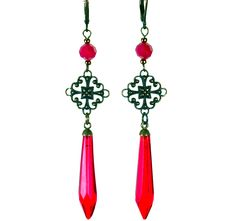 Antique red crystals w/brass filigree.
