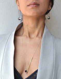 Linea punto onyx necklace - silver
