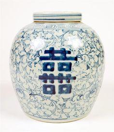 Chinese Blue & White Vintage Ginger Jar w/Lid – ID# 631- $480.00 #antiques #Ginger Jar
