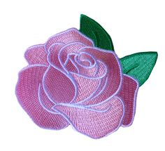 """Roses are Red, Violets are Blue... this little pink rose patch will be so cute on you! Description: Embroidered iron-on patch, measures 3.5"""" wide. Handmade by Darling Distraction."""