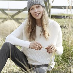 Zig Zag Stitch Sweater | The White Company US. A soft blend of wool and cashmere gives this crew-neck sweater a lovely, soft feel, while a variety of knit techniques play with texture for a panelled effect.