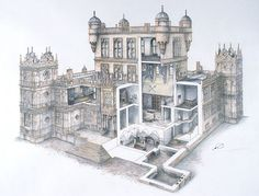 Wollaton Hall, cutaway section. Don't ask me how they got up to the room above the Hall in the lantern tower.