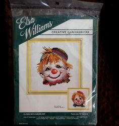 """Elsa Williams Wool Needlepoint Clown With Green Hat Circus 7x8"""" 01637 NOS Sealed #ElsaWilliams"""