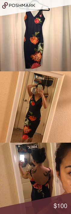 LF navy blue floral bodycon FINAL PRICE NWT. Never worn