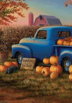 Premium Flag with beautiful fall pumpkins and beautiful vintage truck Weather resistant House Dimensions : Garden Dimensions: Mat Insert Dimensions: Autumn Painting, Autumn Art, Autumn Leaves, Fall Paintings, Country Paintings, Foto Montages, Autumn Scenes, Truck Art, Fall Wallpaper