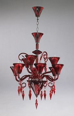 4077 RED MURANO GLASS CHANDELIER Add a bold splash of color to your house  with this