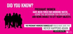 Outrageous! Some pregnant women are still forced to choose between losing their jobs & endangering their pregnancies. Share this image if you support the Pregnant Workers Fairness Act!