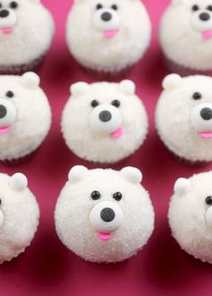 : : food : : DIY Mini Polar Bear Cupcakes [Tutorial] : chocolate jimmies for the eyes + edible eyes for the nose + pink confetti sprinkles for the nose + edible soft pearls for the ears. so easy! Mini Cupcakes, Cupcakes Cool, Bear Cupcakes, Cute Cakes, Cupcake Cookies, Animal Cupcakes, Samoa Cupcakes, Marble Cupcakes, Winter Cupcakes