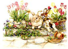 Jodi Jensen Easter greeting card ~ bunnies in the garden
