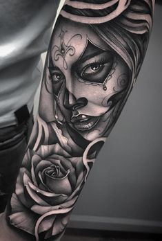 Celebrate Life and Death With These Awesome Day of the Dead Tattoos beautiful Day of the Dead tattoo ideas © tattoo artist Bobby Loveridge 💕 💕 💕 💕 💕 💕 Payasa Tattoo, Skull Girl Tattoo, Girl Face Tattoo, Forarm Tattoos, Head Tattoos, Forearm Tattoo Men, Skull Tattoos, Dog Tattoos, Piercing Tattoo