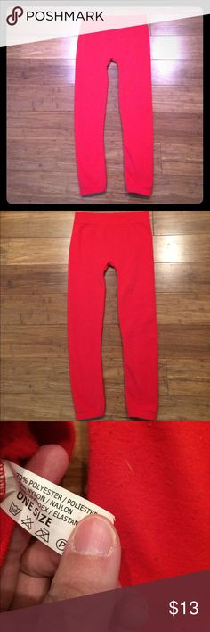 Red fleece-lined leggings Super warm! No brand listed. No holes or stains. Price is firm, no trades. Bundle and save! Pants Leggings