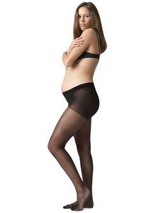 Black Under-Bump 15 Denier Maternity Tights Side