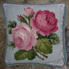 The sampler can be worked with tapestry wools on 10 HPI canvas in Victorian cross stitch. Cross Stitch Designs, Cross Stitch Patterns, Crochet Patterns, Cross Stitch Rose, Cross Stitch Flowers, Victorian Cross Stitch, Wool Embroidery, Needlepoint Pillows, Floral Bedding