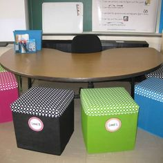 Love these storage cubes for my polka dot themed classroom