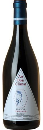 Au Bon Climat Pinot Noir Isabelle 2013, Rather than making this wine from a single vineyards grapes as one might expect from Au Bon Climat, Isabelle is created by blending selected barrels from several sites, including Bien Nacido, Sanford  http://www.MightGet.com/march-2017-1/au-bon-climat-pinot-noir-isabelle-2013-.asp