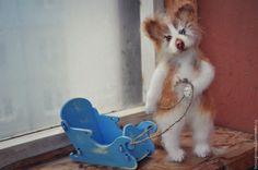 Купить КОГО ПРОКАТИТЬ? Вязаная игрушка Рыжий хаски - собака, собачка, игрушка собака