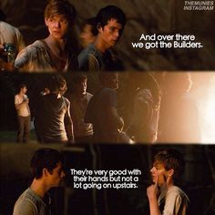 """#themazerunner - « """"Well, you got the Builders, the Sloppers, Baggers, Cooks, Map-makers, Med-jacks, Track-hoes, Blood Housers, The Runners, of course. I don't know, a few more, maybe. Pretty much keep to myself and my own stuff."""" – Zart telling Thomas about different jobs in the Glade, The Maze Runner pg. 104"""