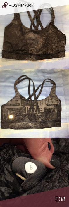 NWOT size 6 lululemon bra Never worn or washed. Size 6. Lululemon bra. Funky scaled pattern. Perfect addition to your workout wardrobe. lululemon athletica Intimates & Sleepwear Bras