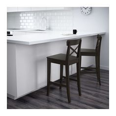 INGOLF Bar stool with backrest IKEA Footrest for extra sitting comfort. Solid wood is a durable natural material.
