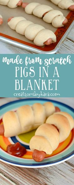 Made from scratch dough makes these the best pigs in a blanket ever! A kid pleasing dinner recipe the whole family will love. via creationsbykara.com
