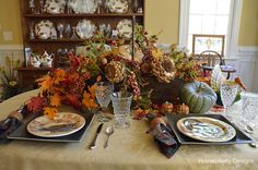 Pottery Barn inspired Thanksgiving tablescape by @Shirley Stankus of Housepitality Designs was the most visited link of the Better Late Than Never Thanksgiving linky party. It's so pretty, I can see why.