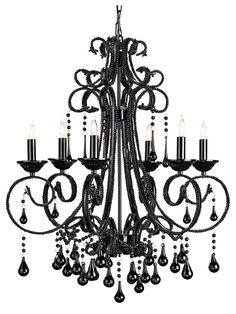 Currey & Co Ovation Chandelier  Elegant chandelier with black crystal drapes and beads.