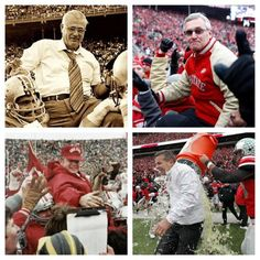 Buckeye Football Coaches: Woody Hayes, top left, Earle Bruce, bottom left, Jim Tressel, top right, and Urban Meyer, bottom right.