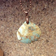 I LOVE THIS! Jasper Stone Pendant on a cool Copper Chain. By HappyLilac