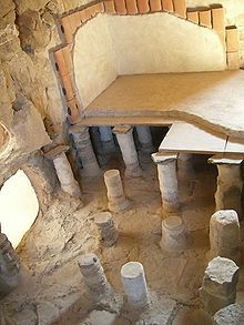 Masada, Israel.  CHECK.  This is a heated swimming pool.  The fires were kept burning between the columns below, covering all the space under the floor.  You can see two layers of a reproduction floor in the pic.  The upper room was filled with water.  Instant heated pool.