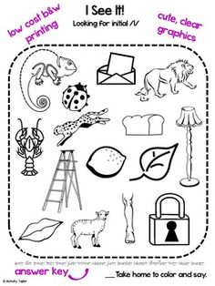 Coloring Worksheets for Articulation of L, K, G, F and V: