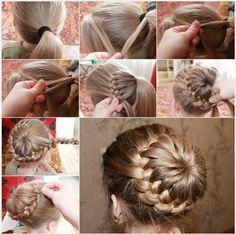 Cute little girl bun hair style