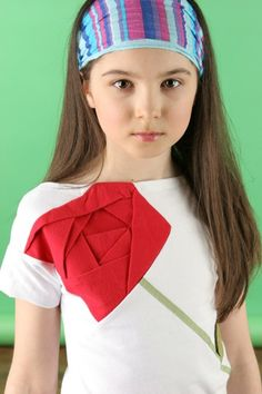 Upcycled Origami Rose Tee. $45