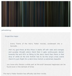 Every frame of every Harry Potter movie condensed into a barcode.